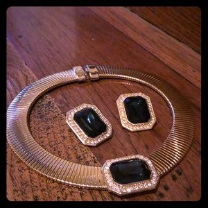 Gold tone necklace with matching clip on earrings